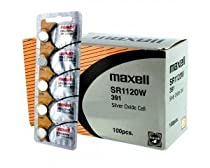 100 pcs Maxell SR1120W SR55 SG8 391 Silver Oxide Watch Battery
