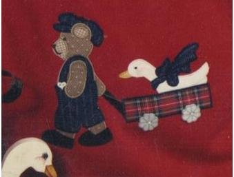 Springtime Stroll - Applique Pattern of Bear Pulling Goose in Cart