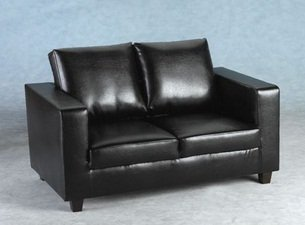 Cheap Luxury Faux Leather Two Seater Sofa In A Box In Antique Black