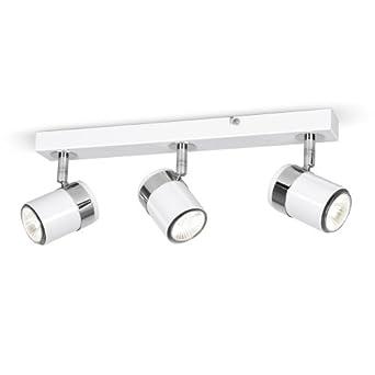 Modern 3 Way Gloss White & Chrome Straight Bar Ceiling Spotlight
