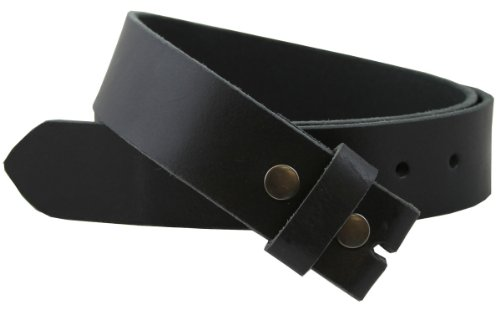 "Distressed Black Leather Belt Snap on Belt Strap 1.5"" Wide (34)"