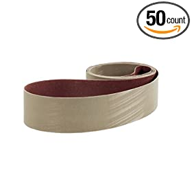 "3M Trizact Cloth Belt 217EA, Aluminum Oxide , Dry, 3"" Width x 132"" Length, A30 Grit (Pack of 50)"
