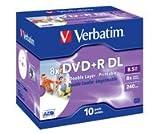 Verbatim 10 x DVD+R DL - 8.5 GB ( 240 Min. ) 8x - bedruckbare Oberfläche - Je...