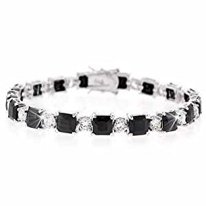 Sterling Silver Black & White CZ Square and Circle Tennis Bracelet