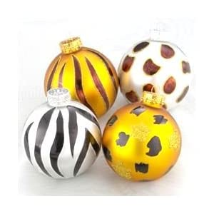 Christmas Ornaments Animal Print Balls Box of 4