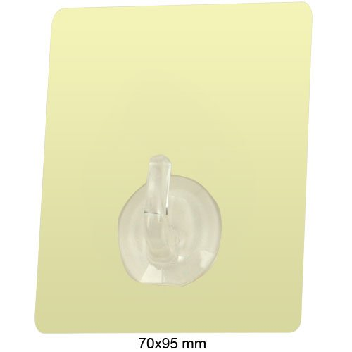 Daffodil NHK13M - Reuseable Towel Hook Set - Nano Technology Backplate Sticks to Glass Windows / Smooth Bathroom Tiles and Other Shiny Surfaces - Max Load 2.5Kg / Sand / Square / 2 Pack