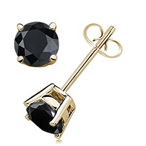 2.00 CTW Round Black Diamond Solitaire Stud Earrings in 14K Yellow Gold