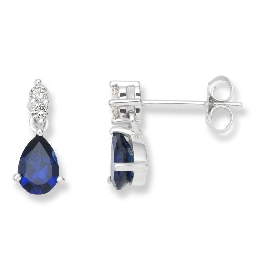 Sapphire Earrings, 9ct White Gold, Diamond and Created Sapphire Drops, 0.08 carat Diamond Weight, by Miore, UNI007E2W
