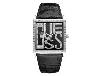 Guess Ladies Watch With Enamel Black Dial And Black Croco Strap