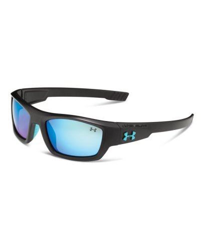 "Under Armour Ace ""Youth"" Satin Black Frame, With Electric Blue Rubber And Gray-Blue Multiflection Lens"