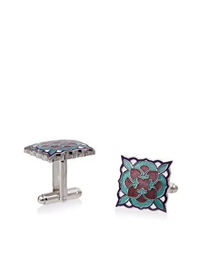 L2 by LOMA Teal and Purple Deco Bloom Cufflinks