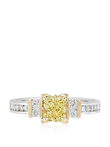 Bouquet 1-3/8 Carat Fancy Yellow Radiant Diamond/18K White Gold Ring