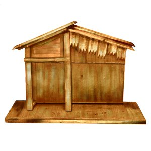 Wooden religious christmas nativity stable 30 quot home amp kitchen