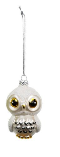 Creative Co-op Blown Glass Owl Ornament, Choice of Color (white)