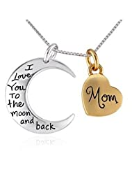 "✔ Antique Silver Polished "" I Love You To The Moon And Back - Mom"" Two Piece Pendant Necklace Hot Selling Gift... - B00V8Z7FRM"