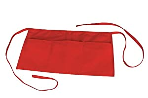Waist Aprons Commercial Restaurant Home Bib Spun Poly Cotton Kitchen (3 Pockets)in Red 10 Pack