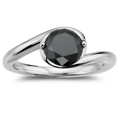 1.10 Ct+ Designer Natural Round Brilliant Cut Black Diamond 925 Sterling Silver Ring * Size 7 (Free Re-size)