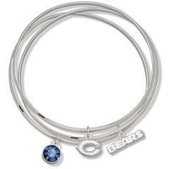 NFL Officially Licensed Blue Crystal Chicago Bears Bangle Bracelet Set