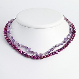 Ster. Silver Amethyst Purple Cult. Pearl Necklace - 16 Inch - Lobster Claw - JewelryWeb