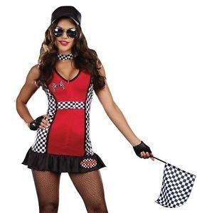 Lanlan Womens Sexy Racecar Driver Flag Girl Halloween Costume