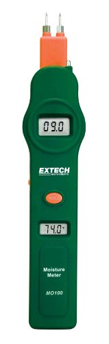 Extech MO100 Pocket Size Digital Pin Moisture Detector and Thermometer with Dual Display