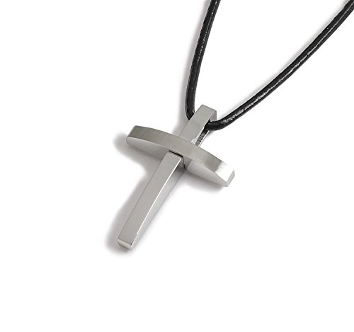 Lj Designs 150.Stainless Steel Curved Cross Pendant - Mens Gift - Christian Gift - Confirmation Gift