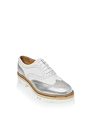 British Passport Zapatos Oxford Wing Cap (Blanco)