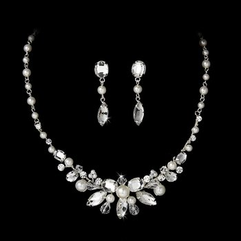 White Pearl and Rhinestone Bridal Necklace and Earrings Set Bridal Jewelry