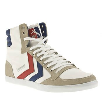hummel slimmer stadil high canvas white blue red mens trainers boots shoes. Black Bedroom Furniture Sets. Home Design Ideas