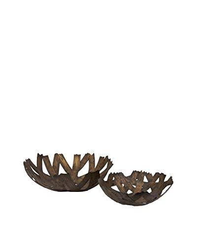 Dolcea Set Of 2 Copper Finish Iron Bowls, Copper