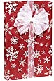 Bright RED & WHITE SNOWFLAKE FLURRY Christmas Gift Wrap Wrapping Paper - 16ft Roll