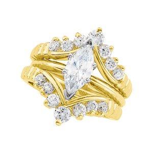 14K Yellow Gold 1/2 ct tw Diamond Ring Guard Size: 12