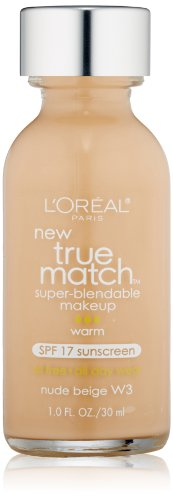 L'Oreal Paris discount duty free L'Oreal Paris True Match Super Blendable Makeup, Nude Beige, w3, Warm, 1 fl oz.