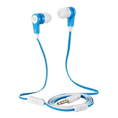Handsfree Anti-Tangle Stereo Earbud Headphones With Built-In Microphone . Lightweight Slim Design. For Tablets, Smart Phones, Mp3 Players, Cell Phones, S3/S4, Samsung S5, Portable Gaming, Iphone 3/4/4S/5/5C, Ipad,Ipod (Blue-White)
