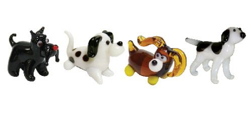 Looking Glass Miniature Collectible - Terrier/Dalmatian/Cocker Spaniel/English Pointer (4-Pack)