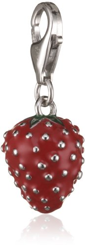 Rafaela Donata Charm Collection Damen-Charm Erdbeere 925 Sterling Silber Emaille rot / grün  60600110