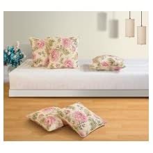 Swayam Drape And Dream Cotton 5 Piece Cushion Cover Set - Cream And Black (CC165-3612)