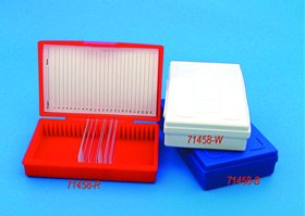 Microscope Slide Box 25 Capacity., Red