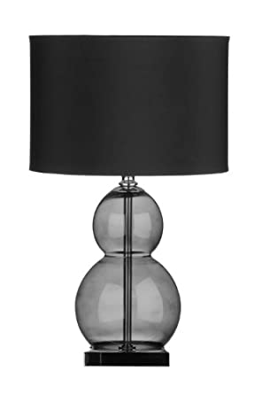 Premier Housewares Glass Ball Table Lamp with Fabric Shade - Black