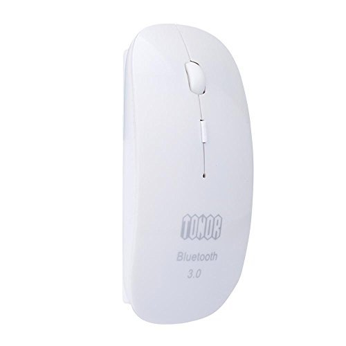 Tonor Bluetooth 3.0 Wireless Mouse Ultra Slim Portable Optical Mouse 800/1200/1600 DPI White-Updated Version