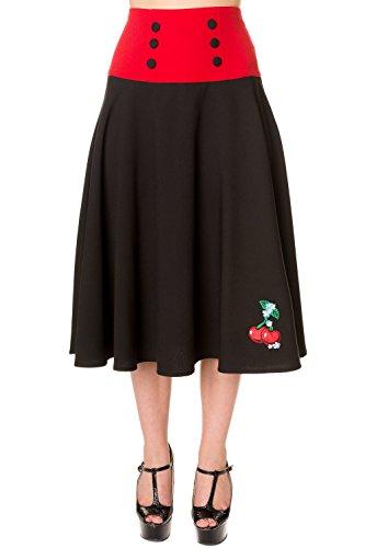 Banned-Black-Red-Cherry-Long-Skirt
