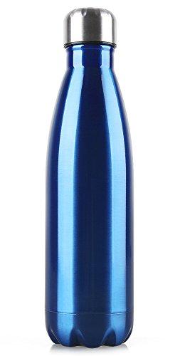 WATERFLY Double-wall Vacuum Bottle Insulated Water Bottle Men's Women's BPA Free Sports Bottle Stainless Steel Flask Leak-proof Beverage Sports Cup Portable Bottle 500ML(Blue)