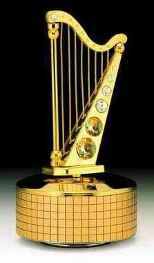 Harp 24k Gold Plated Swarovski Crystal Music Box