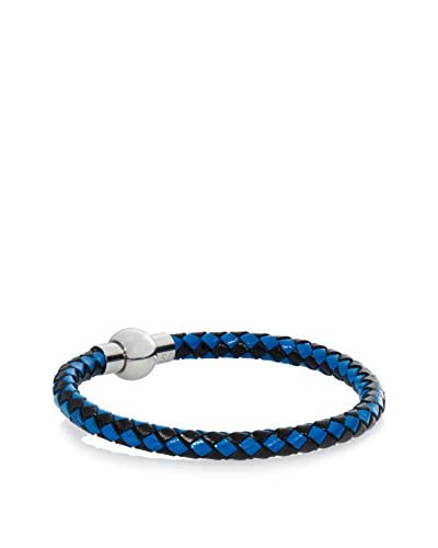 Stephen Oliver Blue and Black Woven Leather Bracelet In Silver