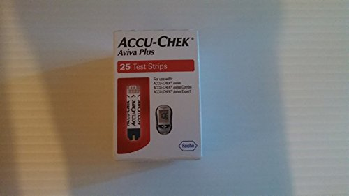Accu-chek Aviva Plus Blood Glucose Diabetic Test Strips, 25 Count Retail