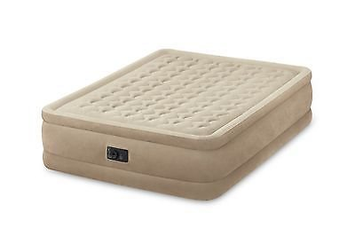 Intex Queen Raised Ultra Push Fiber-Tech Air Bed Mattress Air Bed w Pump 64457E
