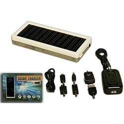 Solar battery charger (i101) - 1250mAh rechargeable polymer solar battery (charger) for cell-phone - mp3 player - media player. With 6 USB adapters