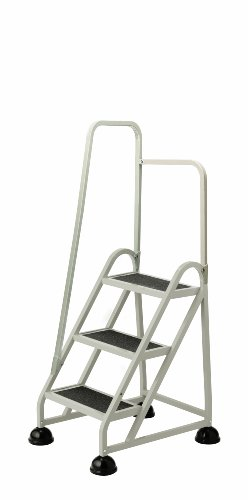 Cramer 1031L-19 Stop-Step Ladder 3 Steps with Left Handrail 27-inch High Top Step, Beige