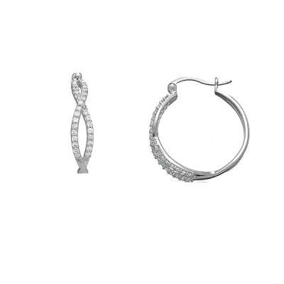 Elegant Earrings Sterling Silver with Exquisite Intercrossing Clear and Radiant CZ Hoop(WoW !With Purchase Over $50 Receive A Marcrame Bracelet Free)