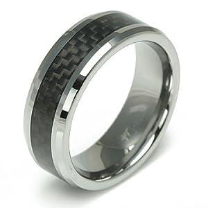 Black Carbon Fiber Inlay Tungsten Carbide Beveled Wedding Band - Size 7